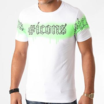 Berry Denim - Tee Shirt XP049 Blanc Vert Fluo