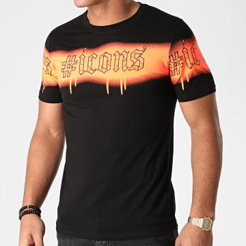 Berry Denim - Tee Shirt XP049 Noir Orange Fluo