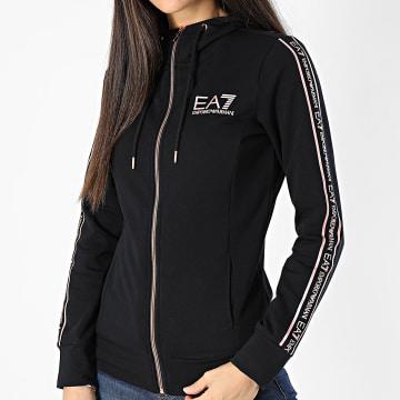 EA7 Emporio Armani - Sweat Zippé Capuche Femme A Bandes 6HTM09-TJ9FZ Noir