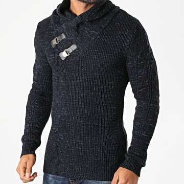 Armita - Pull Col Amplified AVP-139 Bleu Marine Chiné