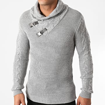 Armita - Pull Col Amplified AVP-139 Gris Chiné