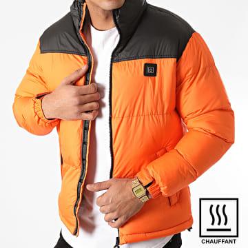 John H - Doudoune Chauffante 6615 Orange Noir