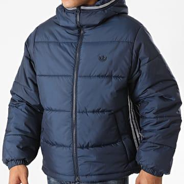 Adidas Originals - Doudoune Capuche A Bandes Pad GE1292 Bleu Marine