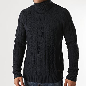 Only And Sons - Pull Col Roulé Rigge 3 Cable Bleu Marine