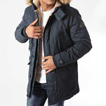 Teddy Smith - Parka Capuche Fourrure Harold Bleu Marine