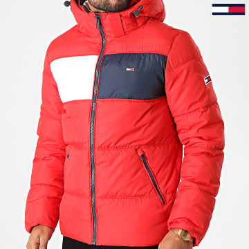 Tommy Jeans - Doudoune Capuche Colorblock Padded 9375 Rouge