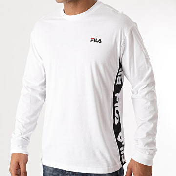 Fila - Tee Shirt Manches Longues A Bandes Tedos 687886 Blanc