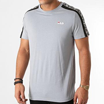 Fila - Tee Shirt A Bandes Tavorian 688056 Bleu Clair Réfléchissant