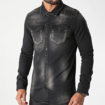 Classic Series - Chemise Jean Manches Longues G-107 Gris Anthracite