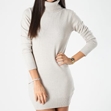Girls Only - Robe Pull Col Roulé Femme W9085 Beige