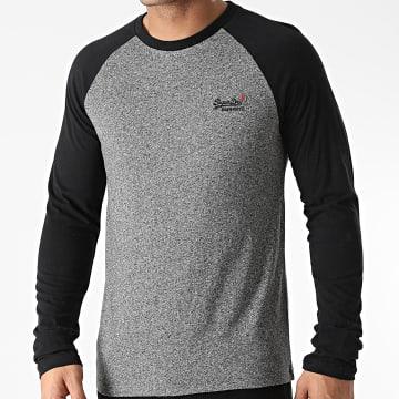 Superdry - Tee Shirt Manches Longues OL Baseball M6010145A Gris Chiné Noir