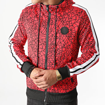 Zelys Paris - Sweat Capuche Zippé A Bandes Olazar Rouge
