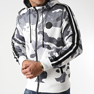 Zelys Paris - Sweat Capuche Zippé A Bande Oforman Blanc