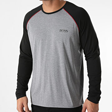 BOSS - Tee Shirt Manches Longues 50442643 Gris Chiné Noir