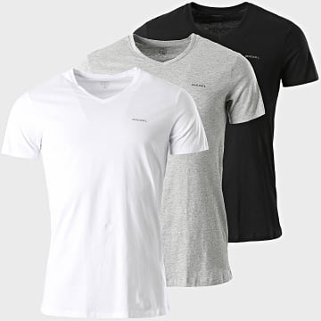 Diesel - Lot De 3 Tee Shirts Col V Jake 00SPDM-0AALW Noir Blanc Gris Chiné