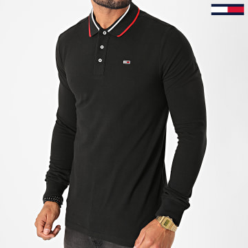 Tommy Jeans - Polo Manches Longues Stretch Slim 9442 Noir