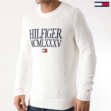 Tommy Hilfiger - Pull Contrasted Chest Logo 5456 Blanc