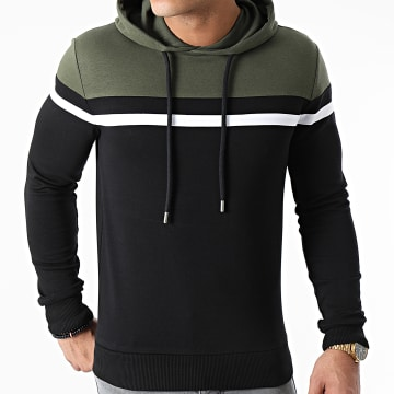 LBO - Sweat Capuche Slim Fit Tricolore 1435 Vert Kaki Noir