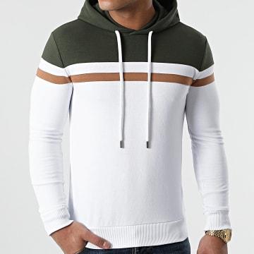 LBO - Sweat Capuche Slim Fit Tricolore 1436 Vert Kaki Blanc