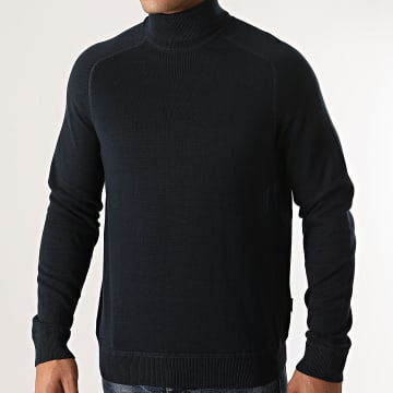 Only And Sons - Pull Col Roulé Kaleb 12 Detail Bleu Marine