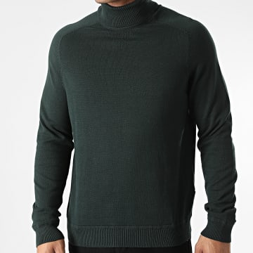 Only And Sons - Pull Col Roulé Kaleb 12 Detail Vert Foncé