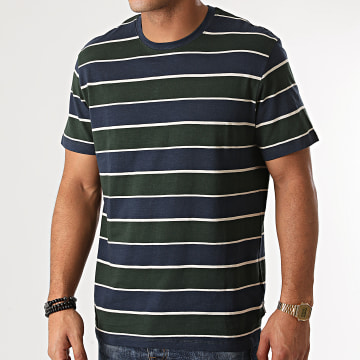 Only And Sons - Tee Shirt A Rayures Diego Vert Kaki Bleu Marine
