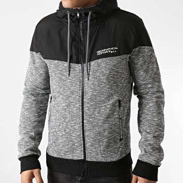 Geographical Norway - Sweat Zippé Capuche Guolity Gris Chiné Noir