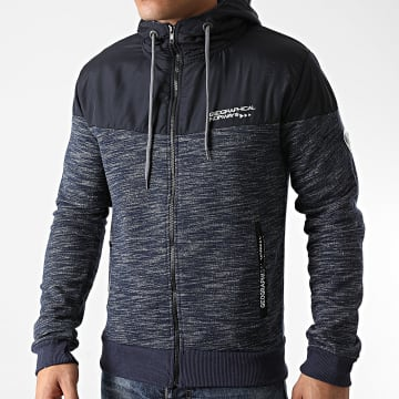 Geographical Norway - Sweat Zippé Capuche Guolity Bleu Marine