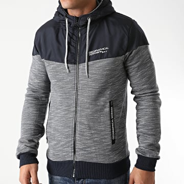 Geographical Norway - Sweat Zippé Capuche Guolity Gris Chiné Bleu Marine