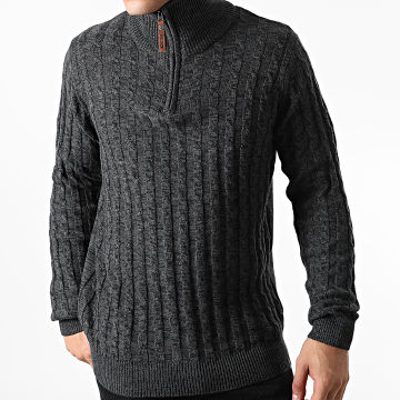 Indicode Jeans - Pull Col Montant Rufus Gris Anthracite Chiné