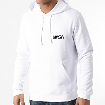 NASA - Sweat Capuche Simple Chest Blanc