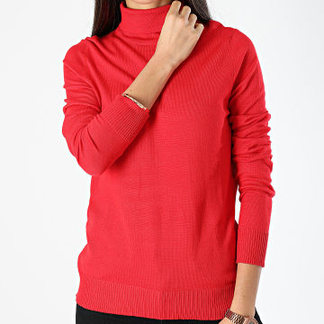 Deeluxe - Pull Col Roulé Femme Basic Rouge