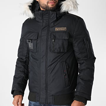 Geographical Norway - Blouson Capuche Fourrure Coming Bleu Marine