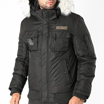 Geographical Norway - Blouson Capuche Fourrure Coming Noir