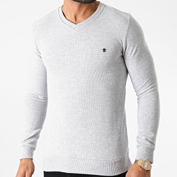 Classic Series - Sweat Col V 3001 Gris Chiné