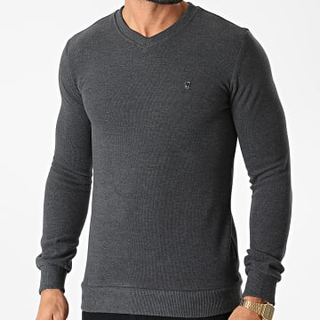 Classic Series - Sweat Col V 3001 Gris Anthracite Chiné