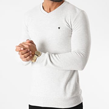 Classic Series - Sweat Col V 3001 Gris Clair Chiné