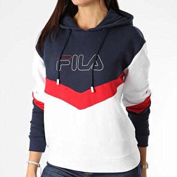 Fila - Sweat Capuche Femme Tricolore Lacey 683160 Blanc Bleu Marine Rouge