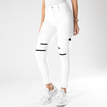Girls Only - Pantalon Cargo Slim Femme R739 Blanc