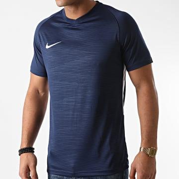 Nike - Tee Shirt Col V Bleu Marine Rouge