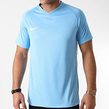 Nike - Tee Shirt Col V Bleu Ciel