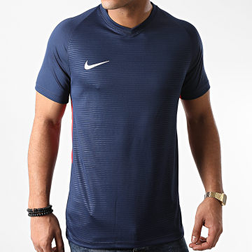 Nike - Tee Shirt Col V Bleu Marine Blanc