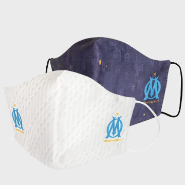 OM - Lot De 2 Masques Sanitaires HCM072 Blanc Bleu Marine