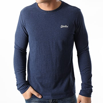 Superdry - Tee Shirt Manches Longues OL Vintage Embroidered M6010122A Bleu Marine Chiné