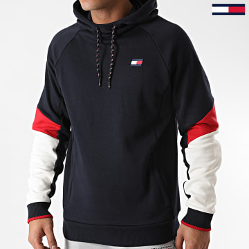 Tommy Sport - Sweat Capuche Tricolore Blocked Fleece 0548 Bleu Marine