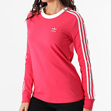 Adidas Originals - Tee Shirt Manches Longues Femme A Bandes 3 Stripes GD2441 Rose