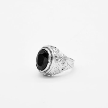 Chained And Able - Bague Black Stone Prince RC20011 Argenté