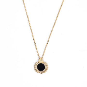 Chained And Able - Collier Crest Onyx Doré