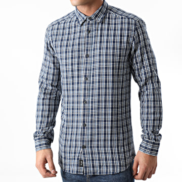 Only And Sons - Chemise Manches Longues A Carreaux Emanuel Bleu Marine
