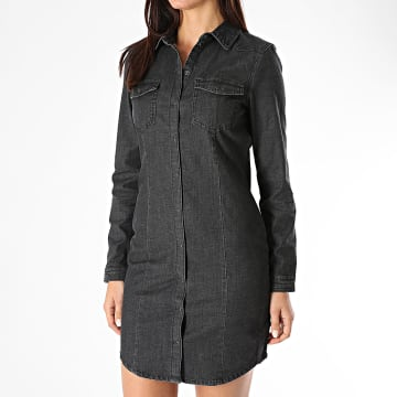 Only - Robe Chemise Jean Manches Longues Femme Vic Life Noir